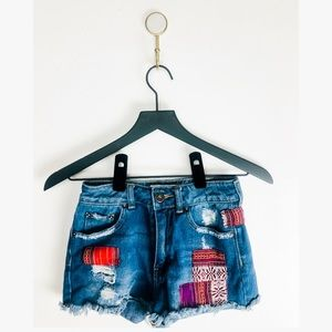 BullHead PacSun Distressed Patches Denim Mom Short